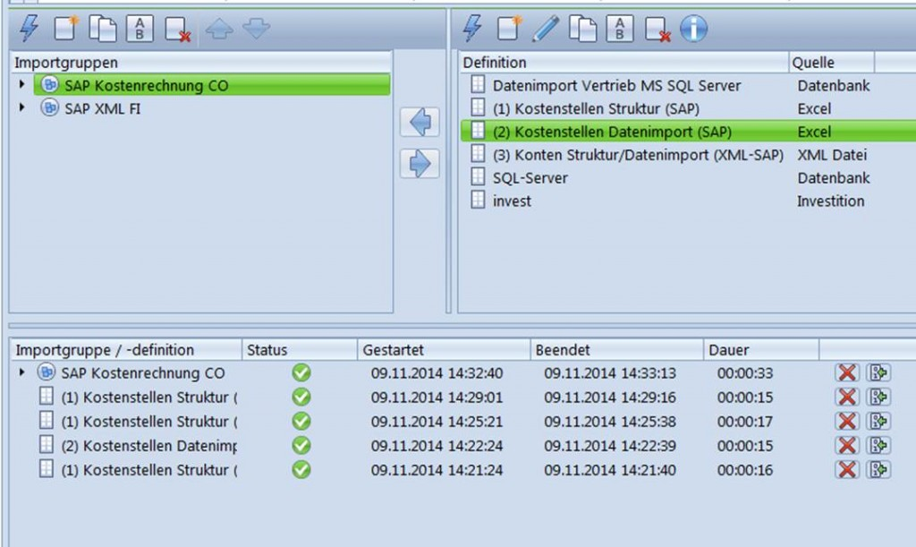 Datenimport aus SQL Server und Excel in Controlling Software CP SUITE