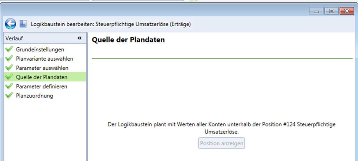 Plantabelle und Logikbausteine CP Finance