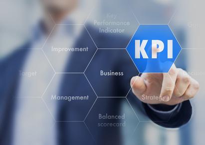 KPI Business Management mit Key Performance Indicator präsentiert von Geschäftsmann