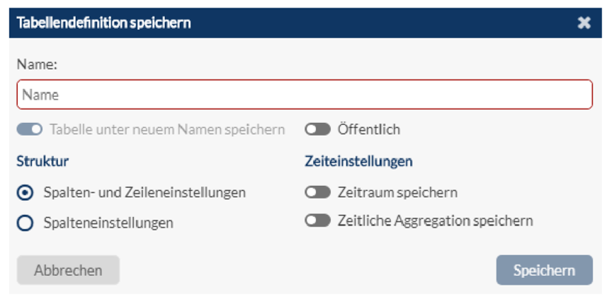 Speichern Tabellendefinitionen mit Zeitparametern im Web Client